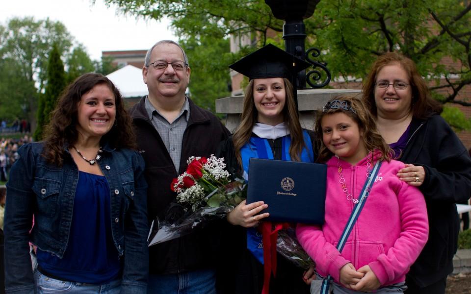 Marla Sarris, Ed Ceaser, Amanda Ceaser, Hannah Ceaser, Gina Ceaser Elmhurst College Graduation
