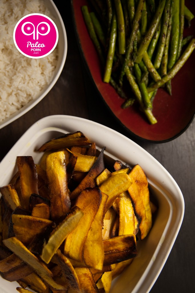 Fried Plantains, Rice, Grilled Asparagus