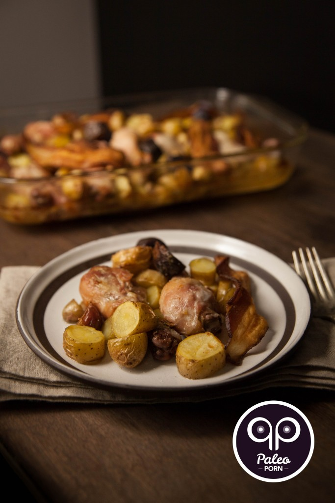 Paleo Chicken Legs and Finger Potatoes with Bacon