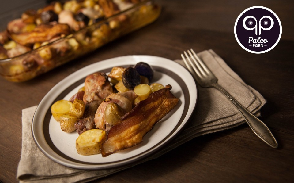 Paleo Recipe Paleo Chicken Legs and Finger Potatoes with Bacon