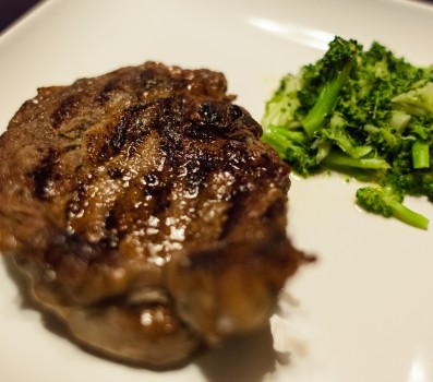 Ribeye Steak and Steamed Broccoli