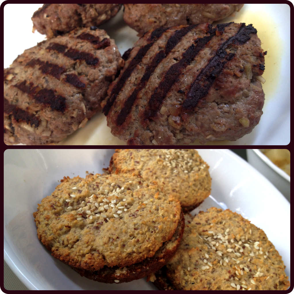 BBQ Bison Burgers on Paleo Almond Flour Hamburger Buns