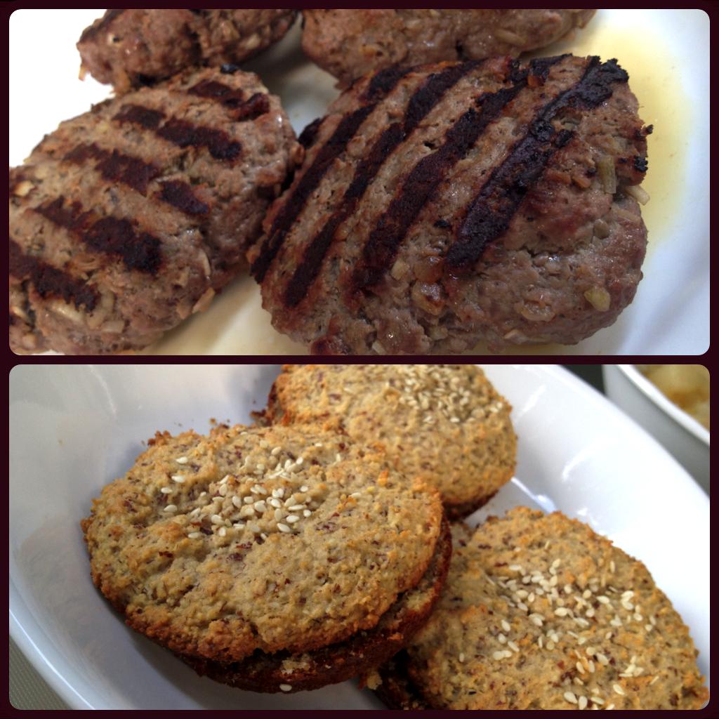 BBQ Bison Burgers on Paleo Almond Flour Hamburger Buns