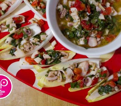 Paleo Recipe Belgian Endive Stuffed with Marinated Calamari