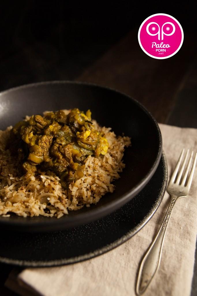 Paleo Persian Eggplant Stew over Cauliflower Rice