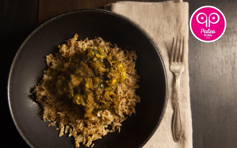 Paleo Recipe Paleo Persian Eggplant Stew over Cauliflower Rice
