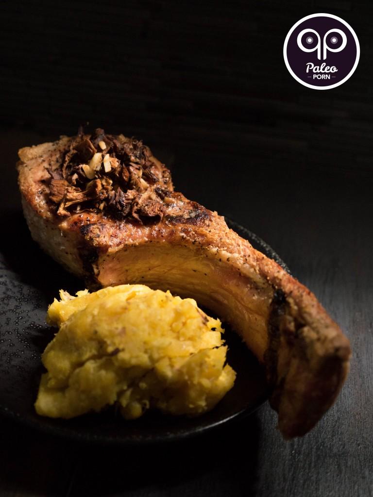 Garlic Mushroom Tomahawk Pork Chops