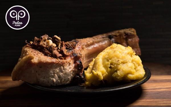 Paleo Recipe Garlic Mushroom Tomahawk Pork Chops