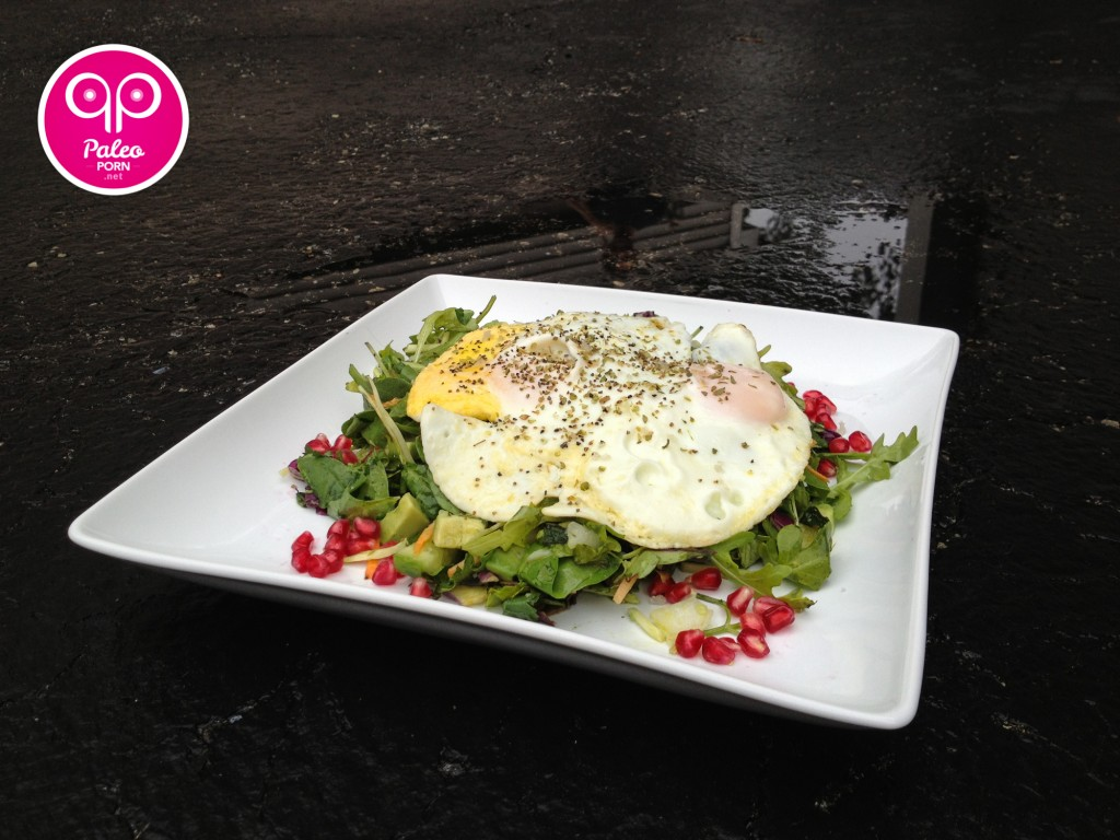 Breakfast Salad with Eggs Over Easy
