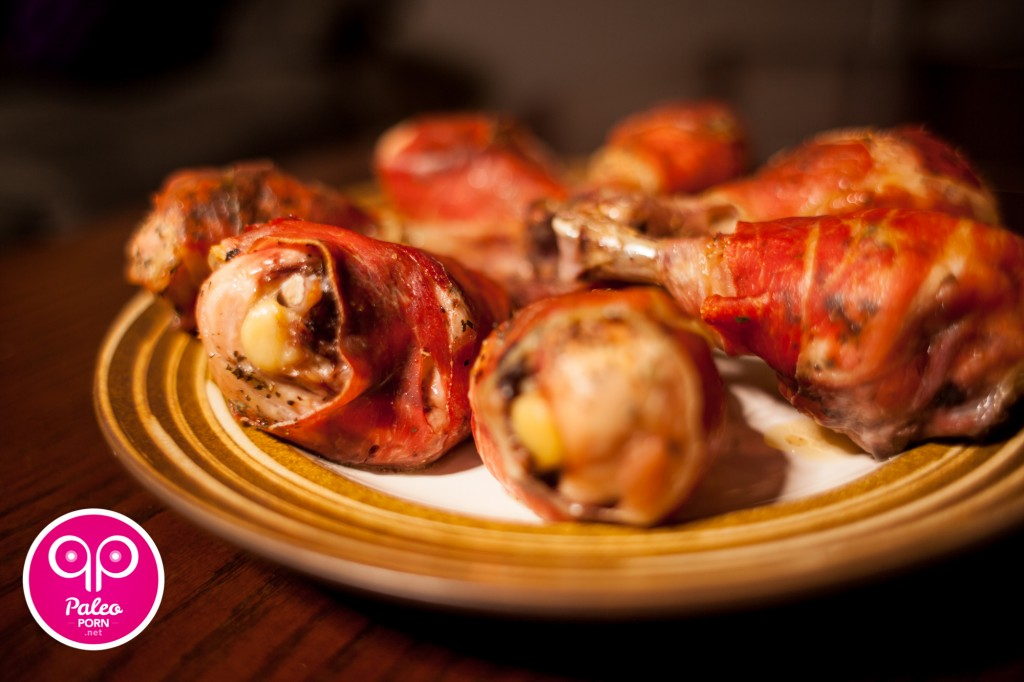 Baked Chicken Legs Smothered in Prosciutto
