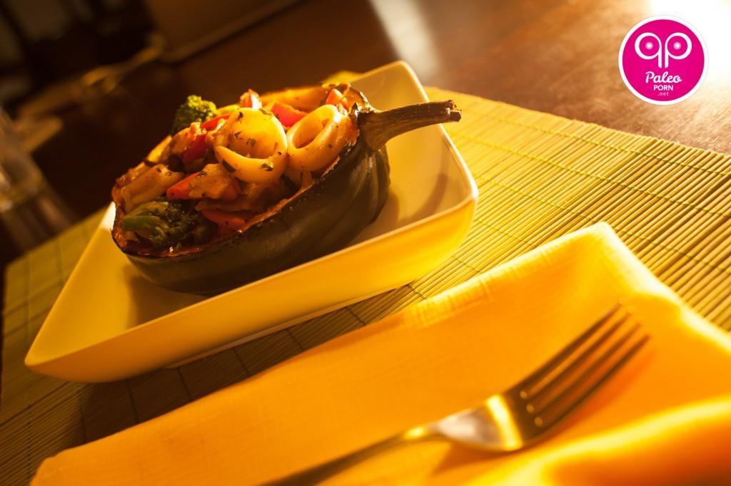 Squid Stir Fry Paleo Squash Bowl