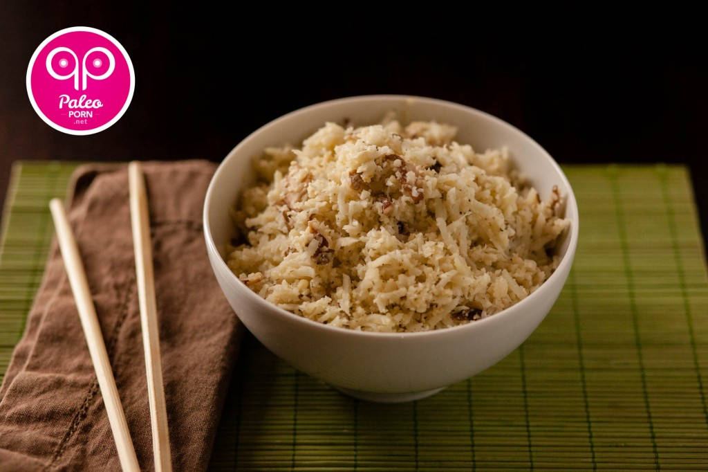 Garlic Shiitake Cauliflower Rice