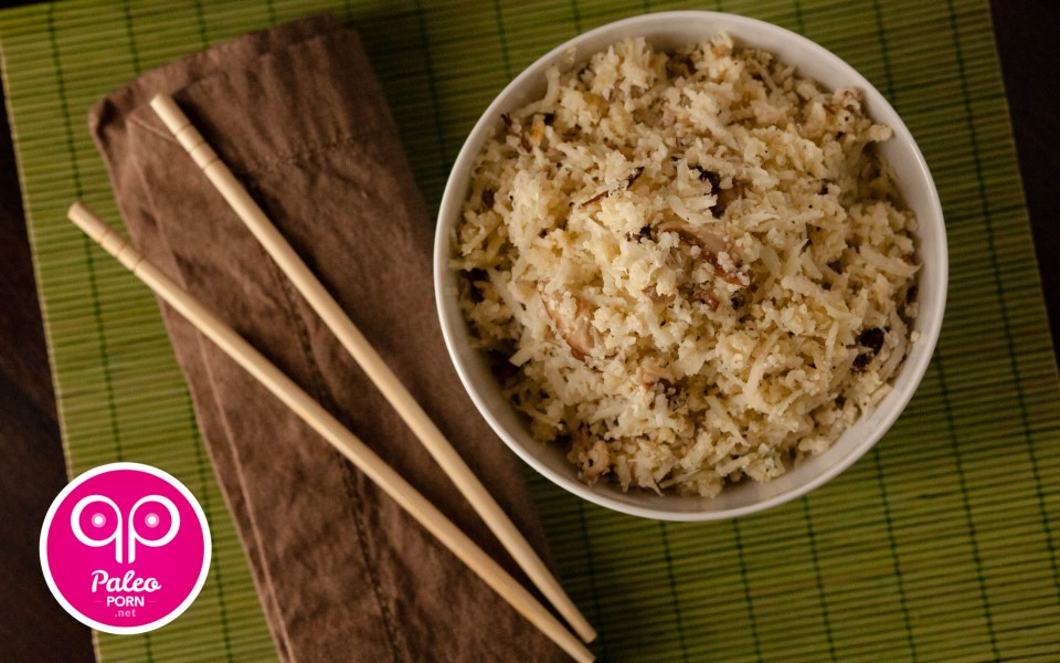 Garlic Shiitake Cauliflower Rice