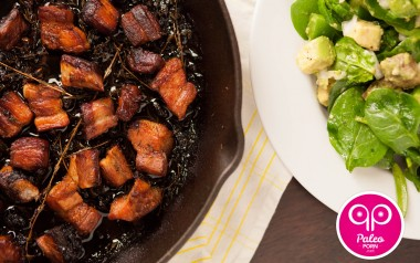 Spinach Salad with Paleo Rillon (Pork Belly)
