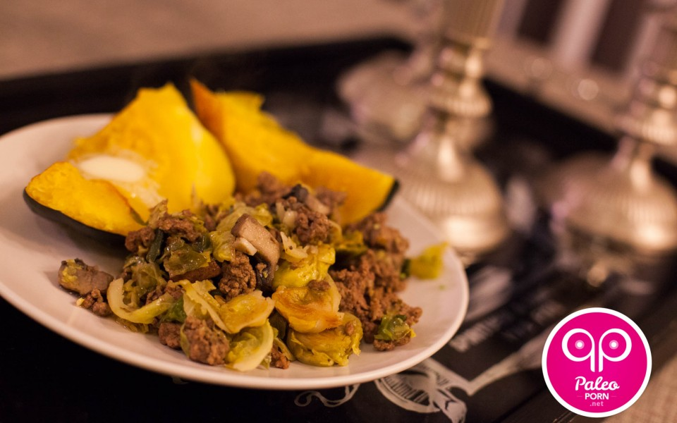 Ground Beef Brussles Sprouts Stir Fry