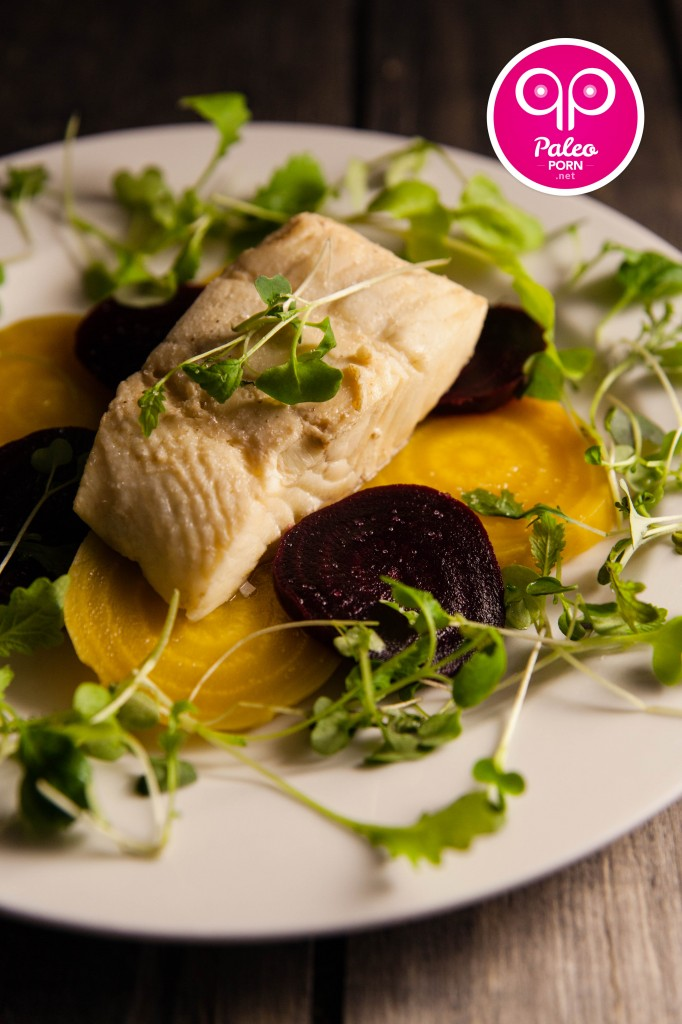 Poached Halibut with Beets