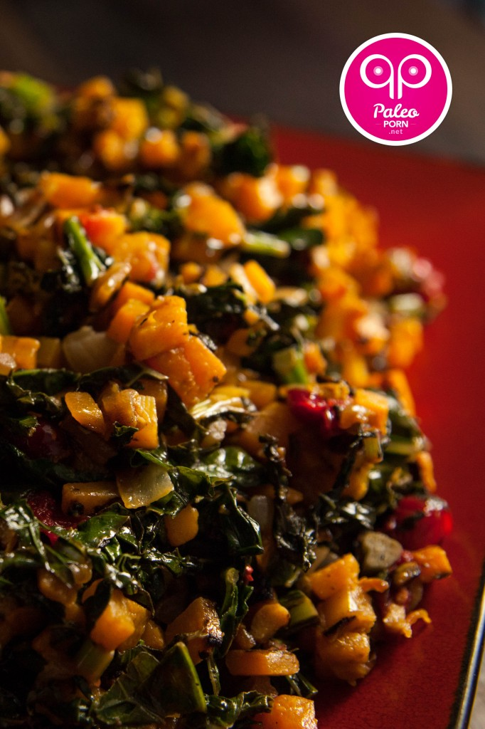 Lacinto Kale and Squash Salad with Cranberries