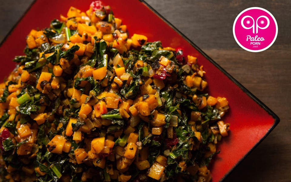 Paleo Recipe Lacinto Kale and Squash Salad with Cranberries