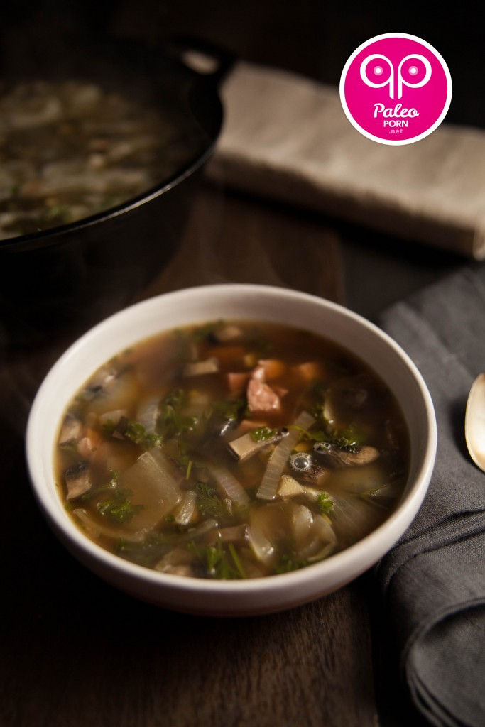Lemon, Mushroom & Ham Steak Paleo Soup