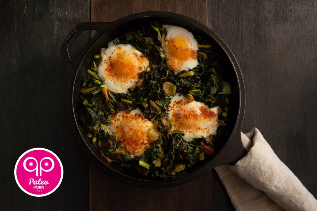 Paleo Breakfast Sautéed Greens and Nested Eggs