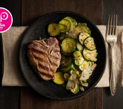 Paleo Recipe Lamb Loin Chops with Zucchini