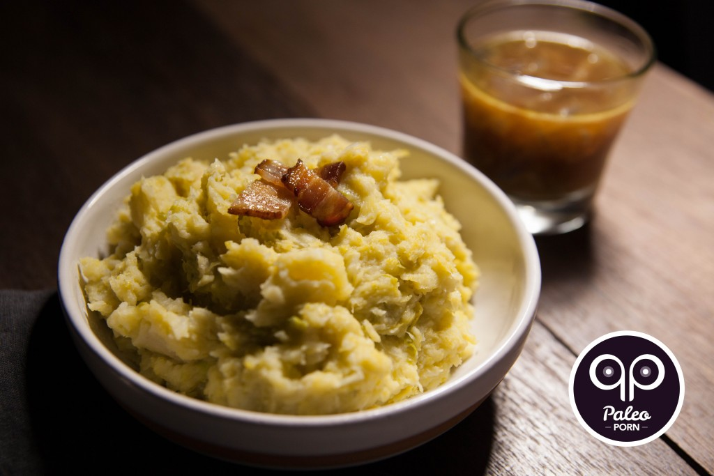 Bacon, Brussels and Parsnip Mash with Caramelized Onion Paleo Au Jus