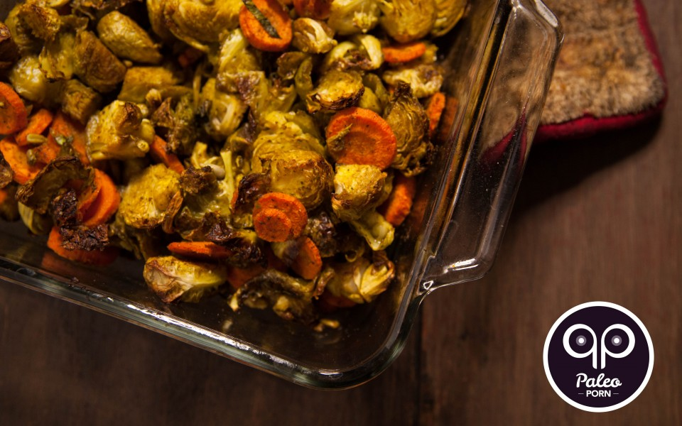 Paleo Recipe Indian Spiced Brussels & Carrots