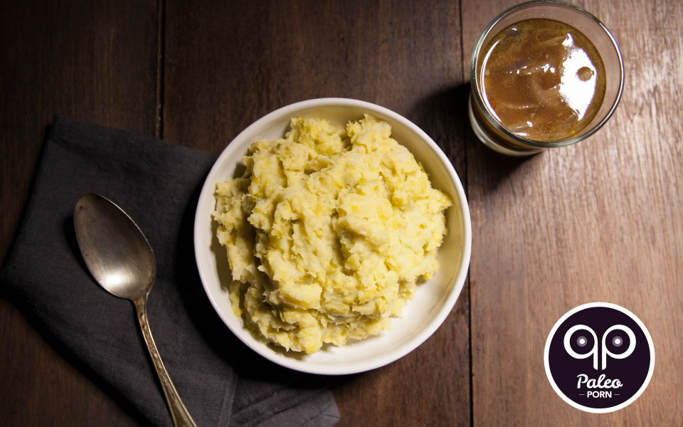 Paleo Recipe Bacon, Brussels and Parsnip Mash with Caramelized Onion Paleo Au Jus