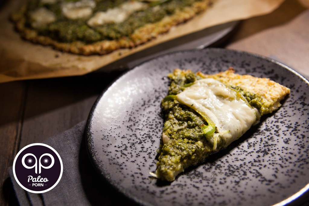 Paleo Cauliflower Pizza Crust with Pesto