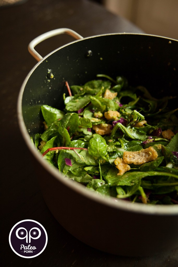 Crack Pot Salad with Paleo Croutons