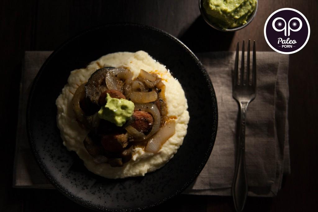 Paleo Eggplant Chorizo Stir Fry with Avocado Crema