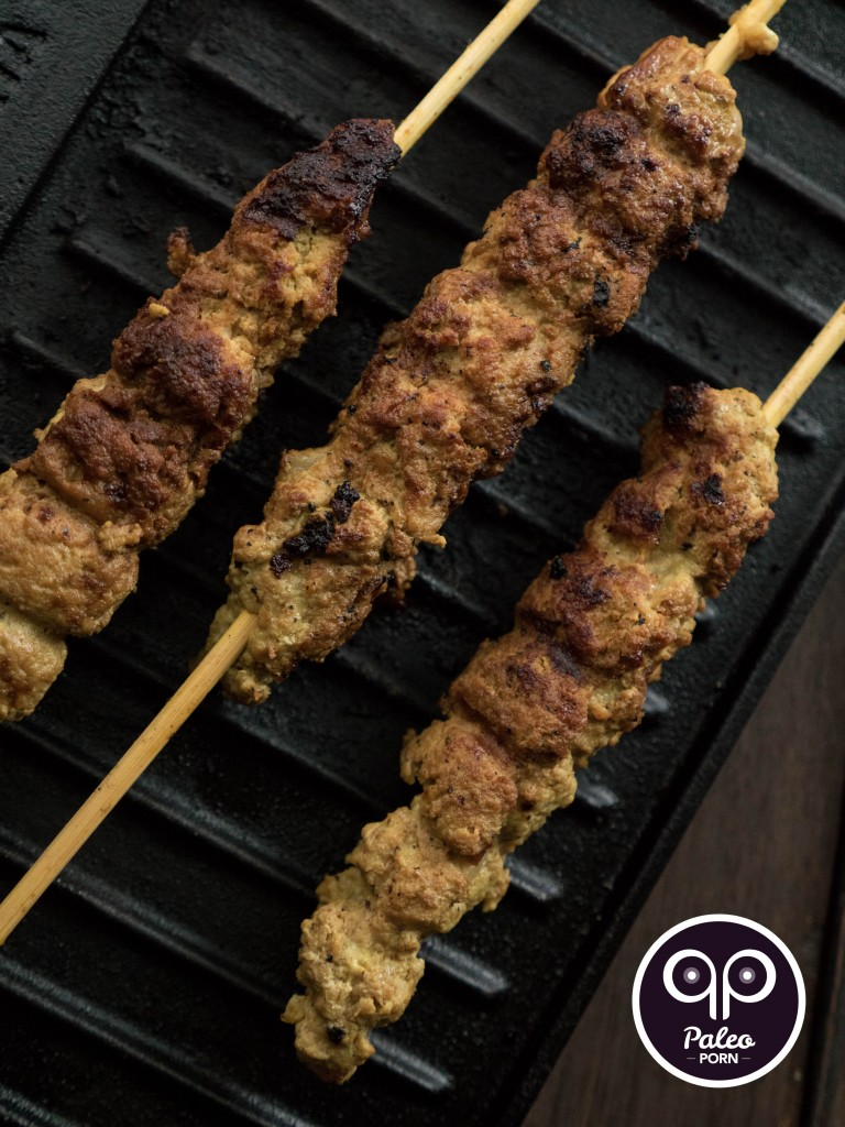 Paleo Ground Turkey and Bacon Curry Skewers