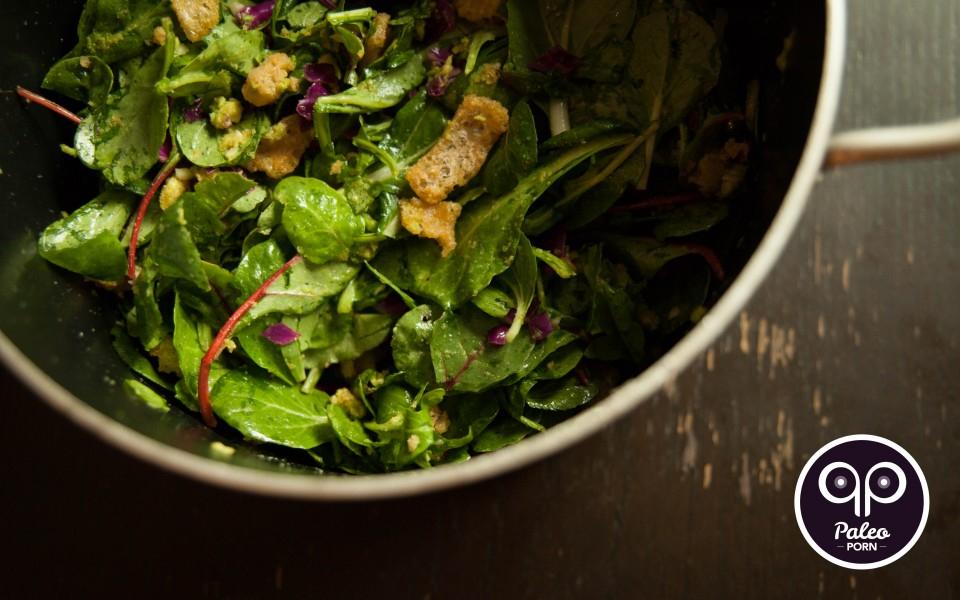 Paleo Recipe Crack Pot Salad with Paleo Croutons