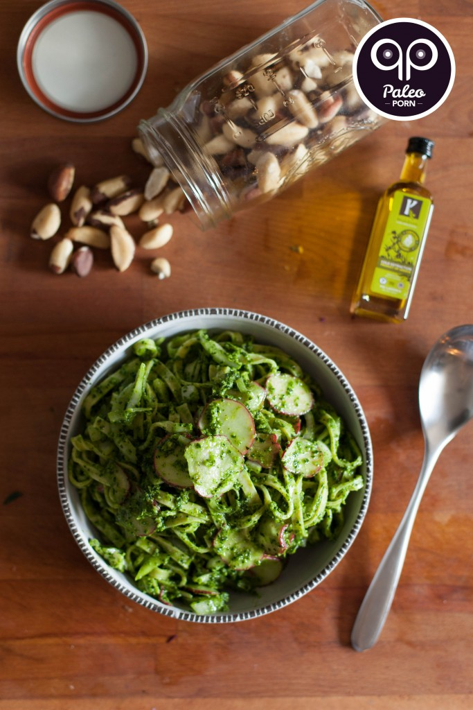 Brazil Nut Pesto Fettuccine with Radish