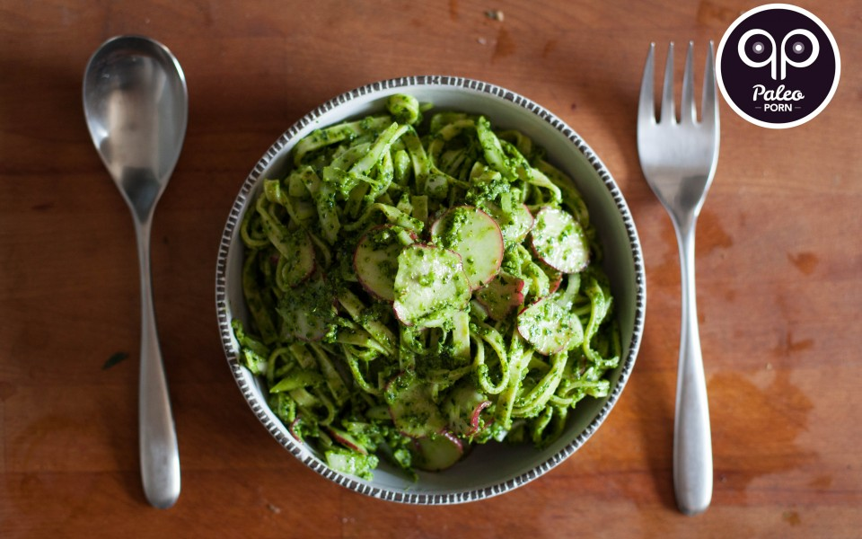 Paleo Recipe Brazil Nut Pesto Fettuccine with Radish