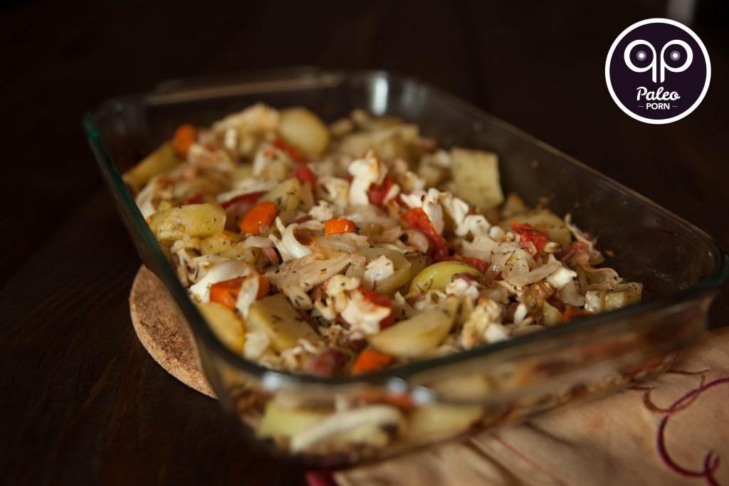 Paleo Potato, Cabbage & Pancetta Bake