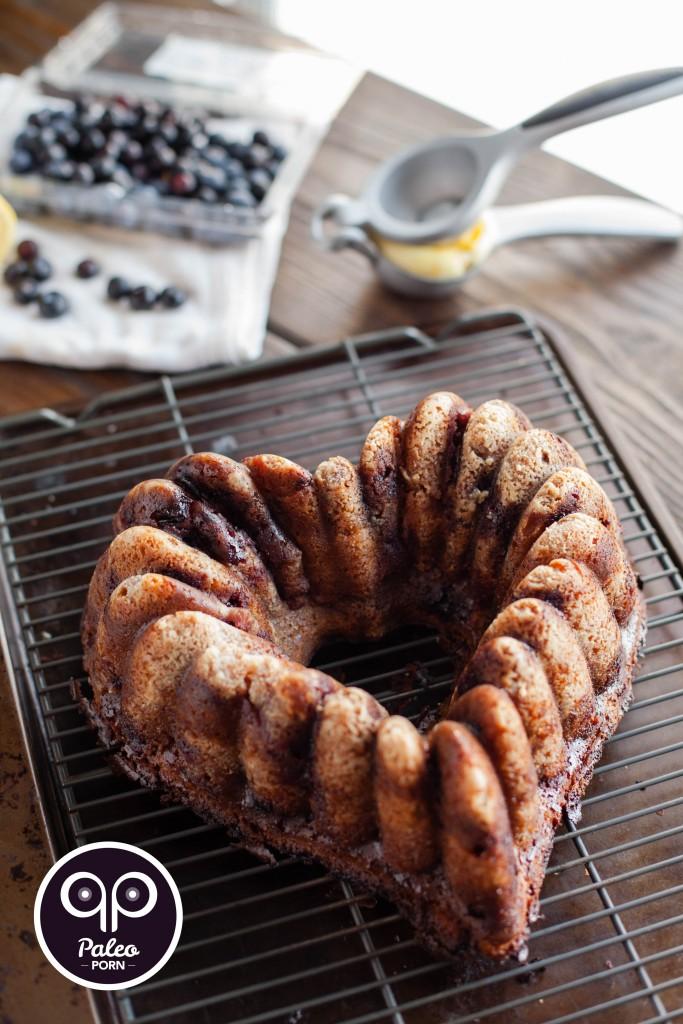 Lemon Curd and Blueberry Paleo Bundt Cake